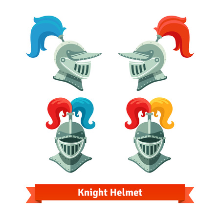 military helmet: Medieval knights helmet with plume. Font and side view. Flat vector illustration isolated on white background. Illustration