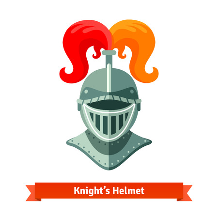 plume: Front view of medieval knights helmet with ostrich plume feathers. Flat vector illustration isolated on white background. Illustration