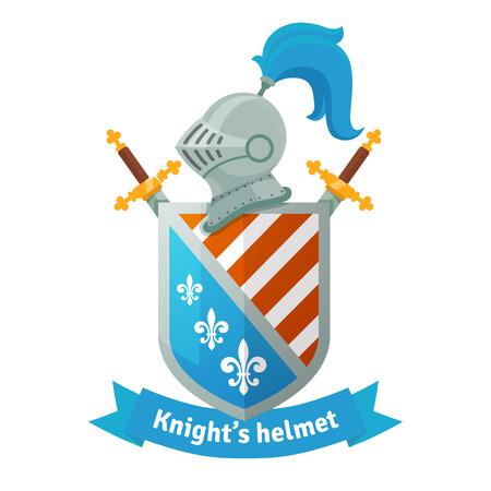 escudo: Escudo de armas medieval con casco de caballero, escudo, espadas cruzadas y la bandera. Composición heráldica. Ilustración vectorial plano aislado en fondo blanco. Vectores