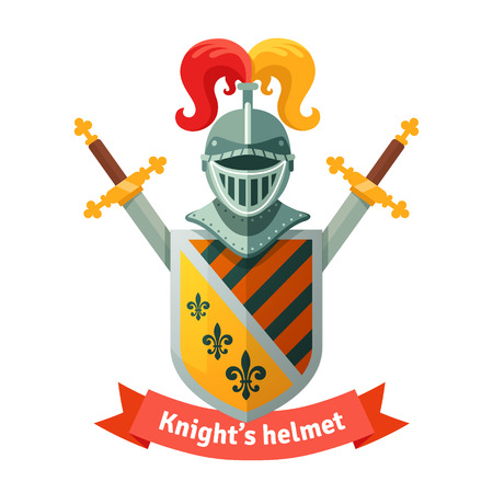 sword fight: Medieval coat of arms with knight helmet, shield, crossed swords and banner. Heraldic composition. Flat vector illustration isolated on white background.