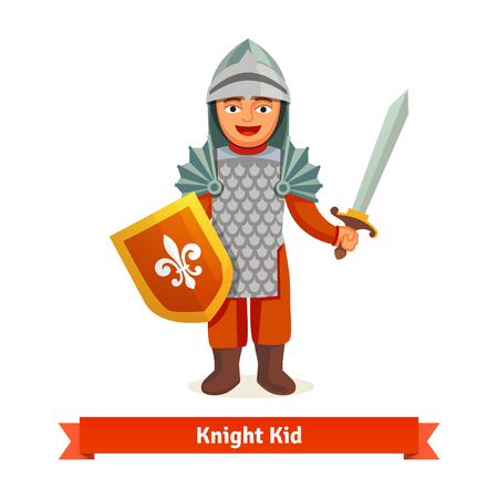 Cheerful kid in knights armour with helmet, chest plate, shield and sword. Flat vector illustration isolated on white background. Vettoriali