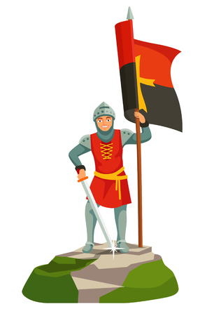 Foot knights templar banner bearer. Holding a big flag with cross. Flat vector illustration isolated on white background.