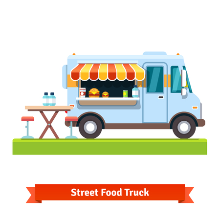 Opened street food truck with free table. Flat vector illustration isolated on white background.