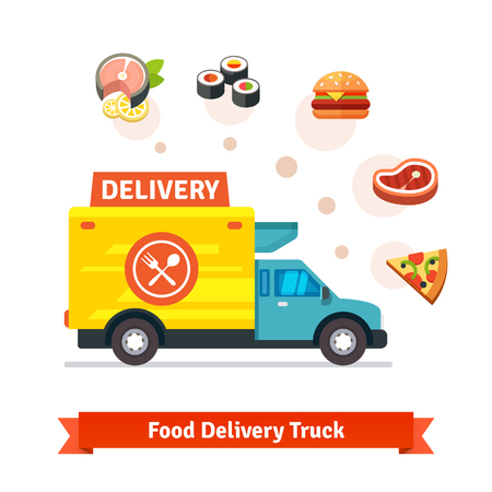 plates of food: Restaurant food delivery truck with meal icons. Flat vector icons isolated on white background.
