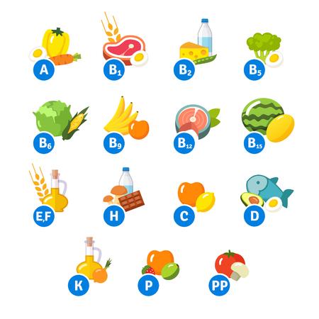 witaminy: Wykres ikon żywności i grup witaminowych. Zestaw płaskich symboli wektora samodzielnie na białym tle. Ilustracja
