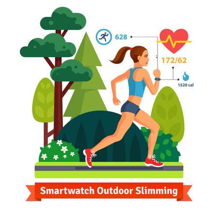 walk in the park: Slimming woman running in the park and burning calories. Monitoring her hurt rate, and steps with smart watch. Flat vector illustration isolated on white background.