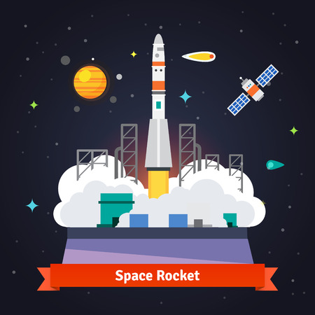 satellite: Rocket launch from spaceport pad. Starry cosmos with satellite, comet and satellite. Flat vector illustration.