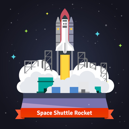 cartoon rocket: Space shuttle rocket launch from spaceport. Flat vector illustration.