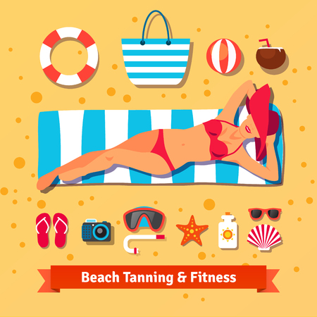 suntan lotion: Pretty woman tanning on the beach and set of sea vacation icons. Flat vector illustration. Illustration