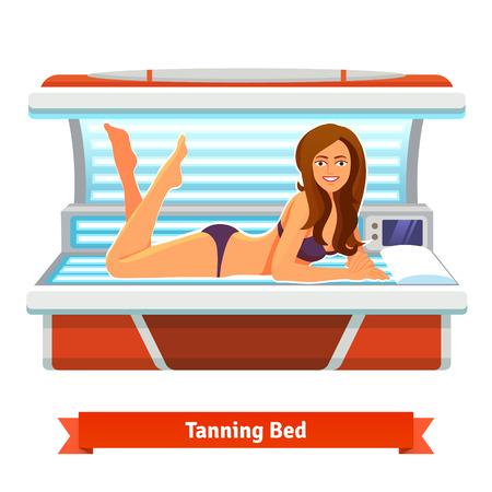woman lying in bed: Young pretty woman in tanning bed. Artificial tan. Flat style illustration isolated on white background.