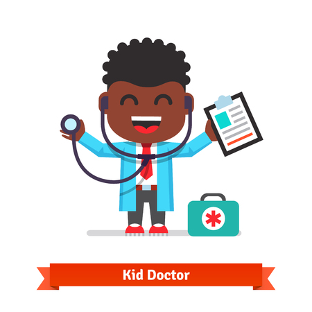 aid: Little smiling boy playing doctor with a stethoscope and paper clip. Flat style illustration isolated on white background. Illustration