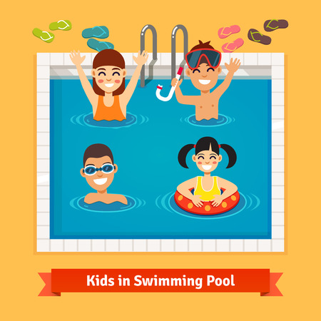little boy and girl: Kids having fun and swimming in the pool. Summer vacation concept. Flat style vector illustration. Illustration