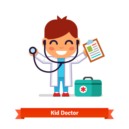 stethoscope boy: Little smiling boy playing doctor with a stethoscope and paper clip. Flat style illustration isolated on white background. Illustration