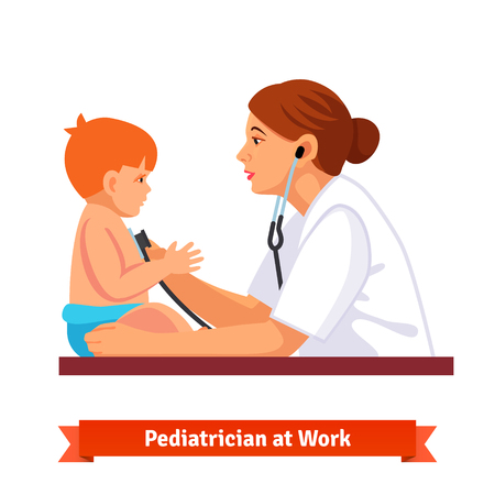 exam: Woman doctor paediatrician examines a child. Listens to his chest with stethoscope. Flat style illustration isolated on white background. Illustration
