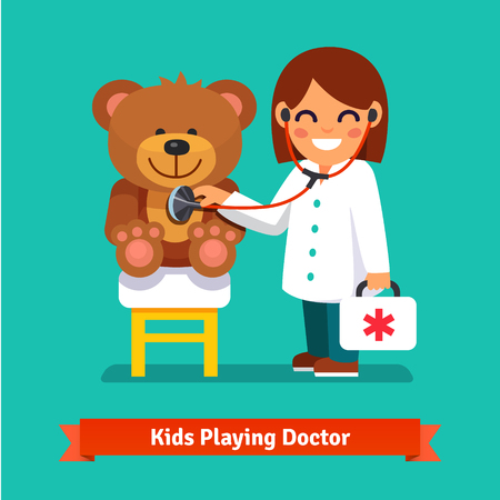 Small girl playing a doctor with plush teddy bear toy. Kid examining patient. Flat style illustration isolated on cyan background. 일러스트