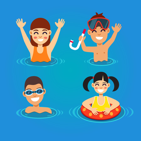 swimming goggles: Kids having fun and swimming in the sea. Summer vacation concept. Flat style vector illustration.
