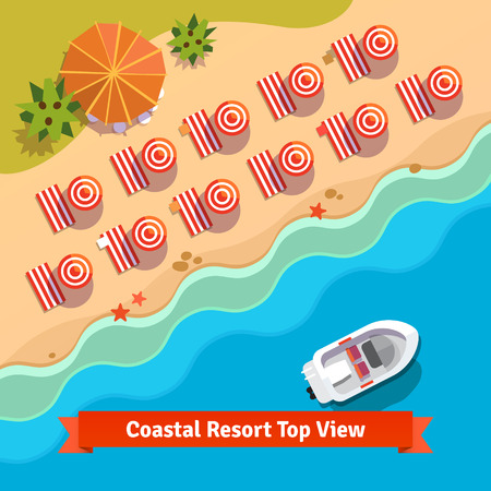 resort beach: Coastal resort beach, sea and boat, top view. Flat style illustration. Illustration