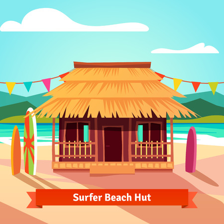 surfers: Surfers lagoon beach hut with standing surfboards. Flat style illustration isolated.