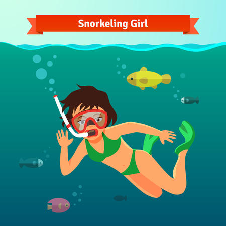 woman underwater: Girl snorkelling in the sea with fishes. Diving woman with fins snorkel and mask. Flat style vector illustration.