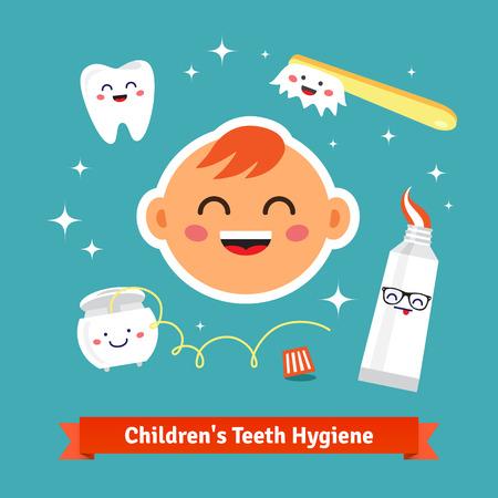 pasta dental: Icono de la higiene dental infantil establece. Bebé feliz con dientes sanos, hilo dental, pasta de dientes y cepillo de dientes. Iconos del vector de dibujos animados de estilo plano.
