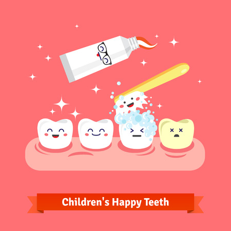 oral care: Tooth hygiene icon set. Cute, smiling and happy teeth are brushing with toothbrush and toothpaste. Flat style cartoon vector icons. Illustration