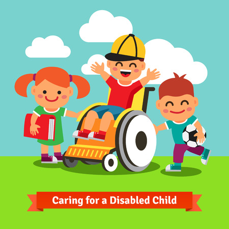 disable: Happy children are walking with disabled or recovering kid on a wheelchair. Flat style vector concept cartoon illustration.