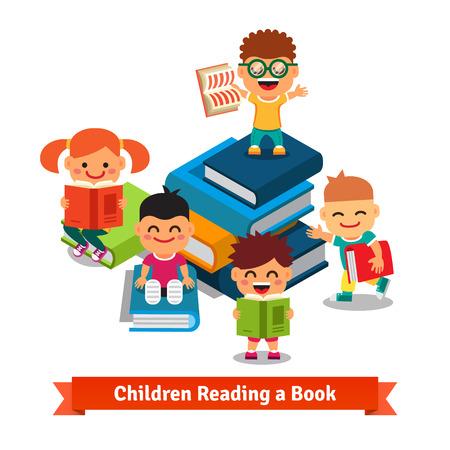 Učení dětí a koncepce vzdělávání. Šťastné usmívající se děti zkoumající velké knihy plné poznání. Byt styl vektorové pojetí ilustrace. Ilustrace