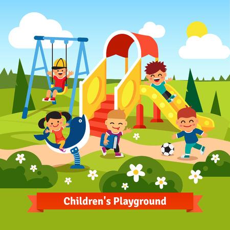 Dzieci bawiące się na placu zabaw. Swinging i dzieci przesuwne. Mieszkanie w stylu ilustracji wektorowych z kreskówki.