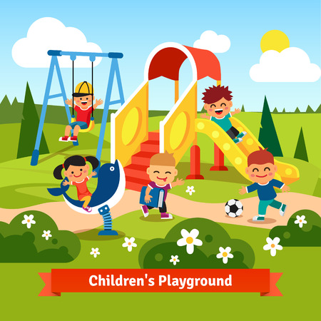 spring season: Kids playing on playground. Swinging and sliding children. Flat style vector cartoon illustration.