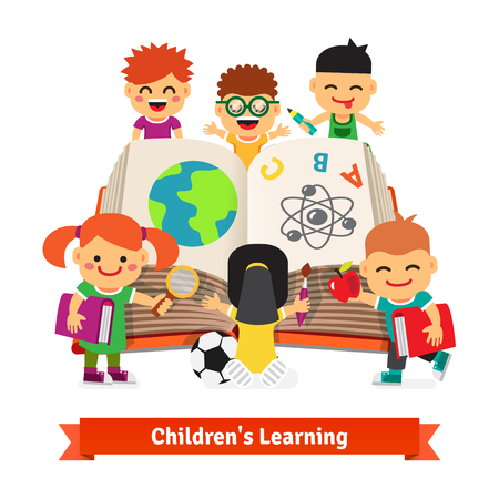 boy with glasses: Kids learning together from a big encyclopedia book. Children education concept. Flat style vector illustration.