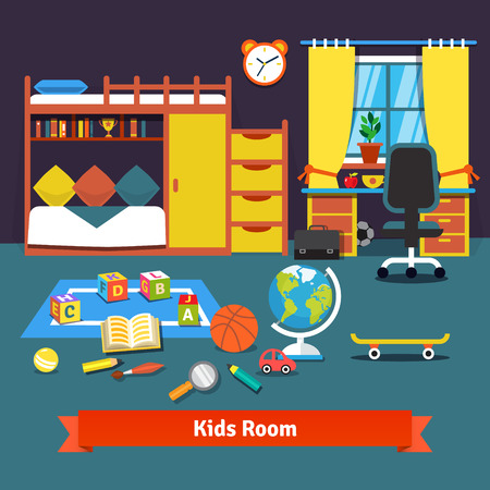 cartoon clock: Two kids room with bunk bed, cupboard, desk, chair and toys on the floor. Flat style vector cartoon illustration. Illustration