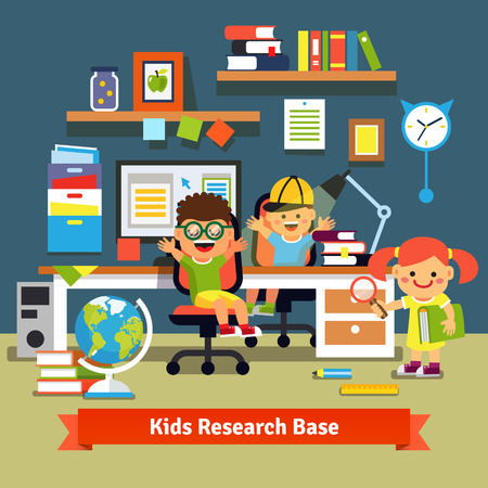child room: Kids research base concept. Children learning and doing projects together in their room with working desk, desktop computer, files and books. Flat style vector cartoon illustration.