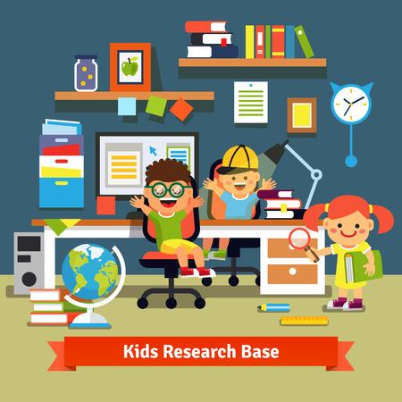 investigando: Los niños investigan concepto base. Niños aprendiendo y haciendo proyectos juntos en su habitación con escritorio, computadora de escritorio, archivos y libros. Ilustración de dibujos animados de vectores estilo plano. Vectores