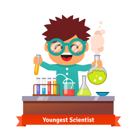 experimento: Joven científico. Niño bebé haciendo experimentos químicos. Frasco y tubo de ensayo en la mano. Ilustración de dibujos animados de vectores estilo plano.