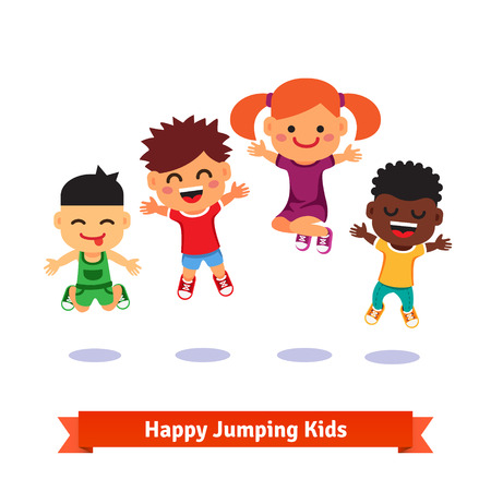 pequeño: Cabritos felices y emocionados saltando. Europea, asiática, afroamericana. Ilustración de dibujos animados de vectores estilo plano.