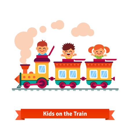friends fun: Kids, boys and girls riding on a cartoon train. Flat style vector illustration.