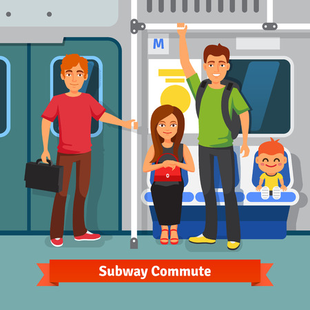 metro train: Subway commute. Young people, man and woman with kid sitting and standing in a subway train car. Flat style vector illustration.
