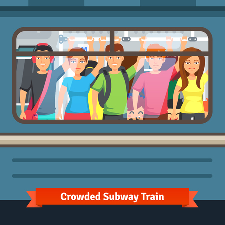 Crowded subway train. Young people standing close and holding to a hand rail. Flat style vector illustration.