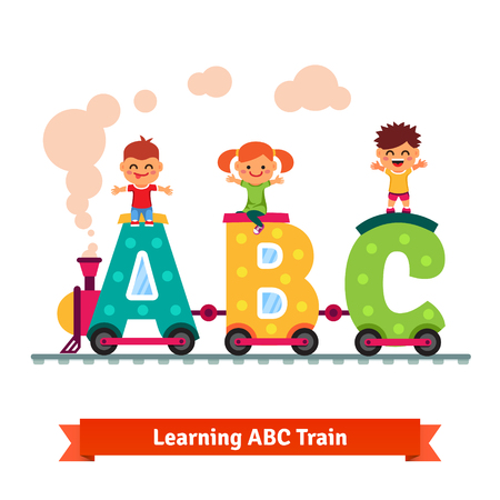 Kids, boys and girl riding on abc train. Children learning alphabet concept. Flat style vector cartoon.