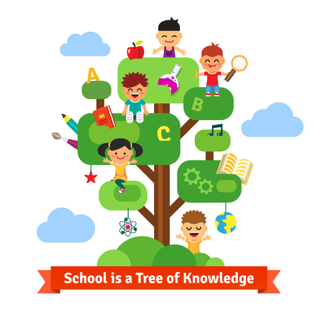 craft materials: School tree of knowledge and children education. Happy kids sitting and learning on a tree full of books and science, arts and crafts stuff. Flat style vector cartoon. Illustration
