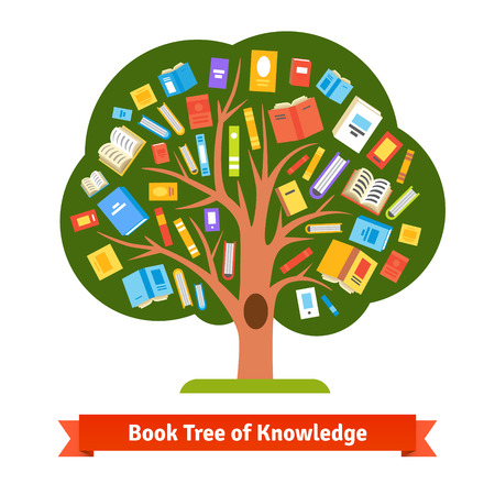 reading a book: Book tree of knowledge and reading. Flat style illustration.