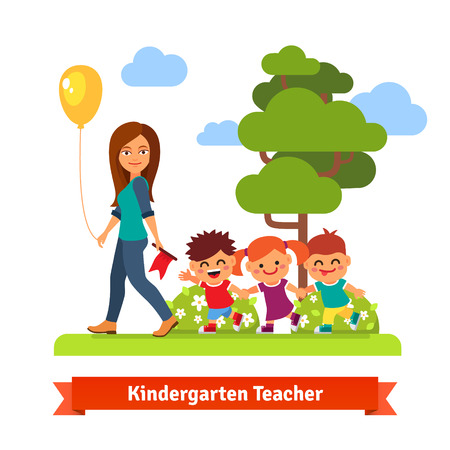 teaching children: Young kindergarden teacher walking in park with kids holding hands in trail. Flat style vector cartoon illustration.