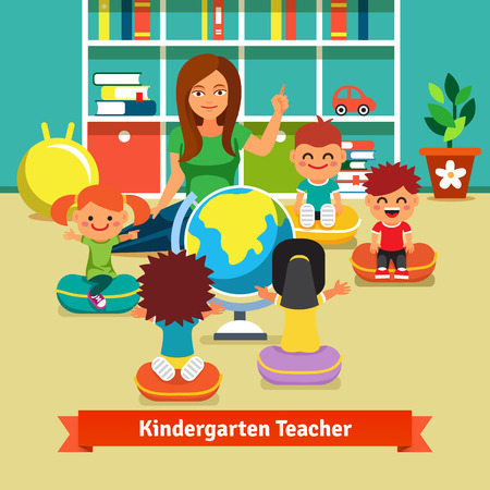 studying classroom: Young kindergarden teacher teaching class of kids geography with earth globe. Kids are sitting on pillows around her. Flat style vector cartoon illustration. Illustration