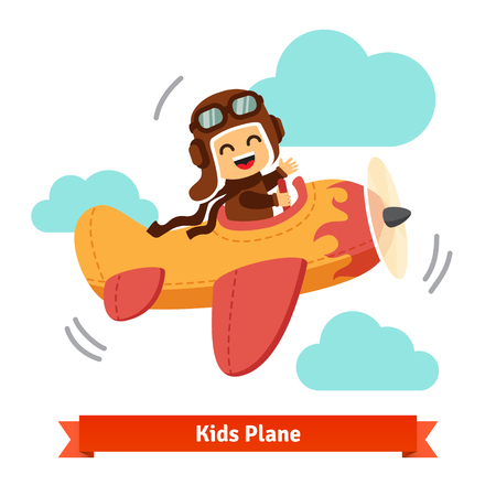 airplane wing: Happy smiling kid flying plane like a real pilot in retro leather flight helmet. Flat style cartoon vector illustration. Illustration
