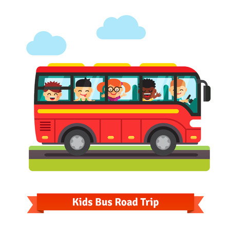 Happy smiling kids boys and girls travelling on the red bus. Road trip concept. Flat vector cartoon background illustration.