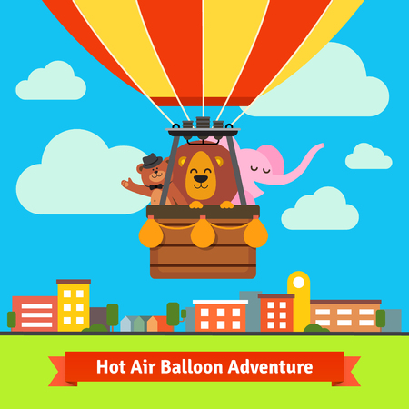 scenics: Happy cartoon animals flying on hot air balloon above scenic summer city landscape. Bear in the hat, lion and elephant. Flat vector cartoon background illustration. Illustration