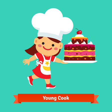 cartoon little girl: Smiling girl cook in chefs hat holding a big birthday cherry cake that she cooked herself. Flat vector cartoon illustration isolated on cyan background. Illustration