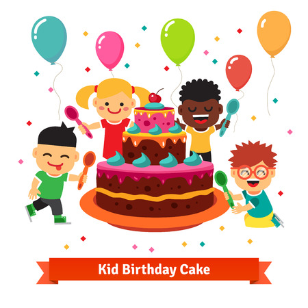 african boy: Happy smiling celebrating kids with spoons, air balloons, confetti and big birthday cake. Flat vector cartoon illustration isolated on white background. Illustration