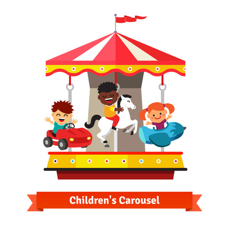 Kids having fun on a carnival carousel. Boys and girl riding on toy horse, plane and car whirligig. Flat vector cartoon illustration isolated on white background. Vettoriali