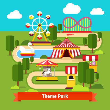 amusement park rides: Amusement park map, ferris wheel, roller coaster, carnival tent, carousel and ticket booth. Flat vector cartoon illustration.